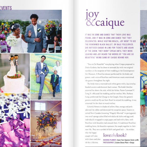 Contemporary Art Museum Wedding in Downtown Raleigh, NC   Joy + Caique's wedding featured in Weddings Magazine