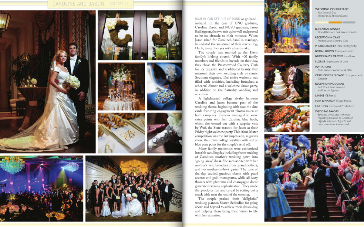 A Prestonwood Country Club Wedding Film | Caroline + Jason Featured in Southern Bride and Groom Magazine