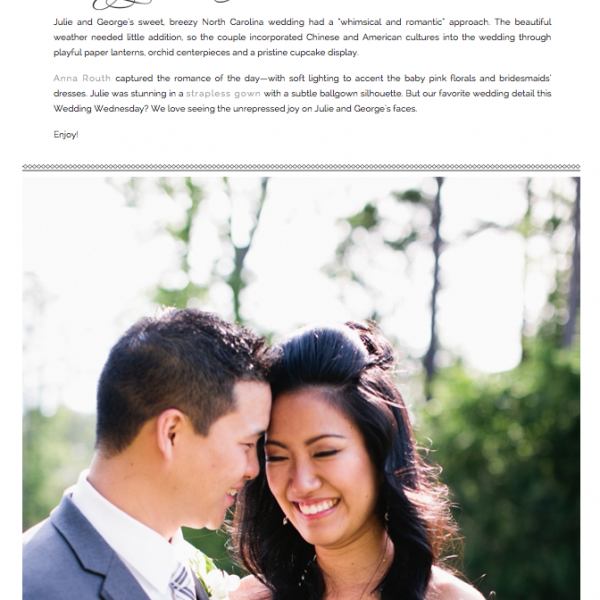 North Carolina Wedding Feature | Julie +George featured in Allure Bridals