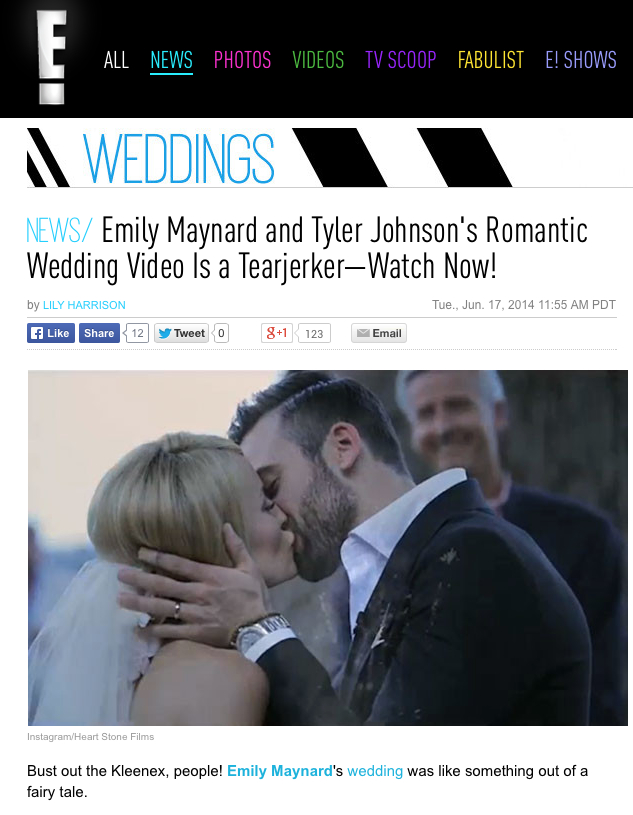 Emily maynard shares romantic wedding video by heart stone films heart stone films featured in people magazineus weekly e online abc news and yahoo publicscrutiny Gallery